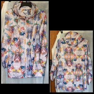Susan Graver Floral Print Package Rain Jacket